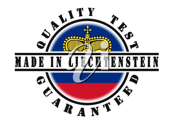 Quality test guaranteed stamp with a national flag inside, Liechtenstein