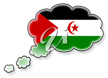 Flag in the cloud, isolated on white background, flag of the Western Sahara