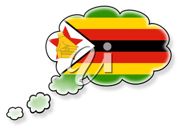 Flag in the cloud, isolated on white background, flag of Zimbabwe