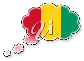Flag in the cloud, isolated on white background, flag of Guinea