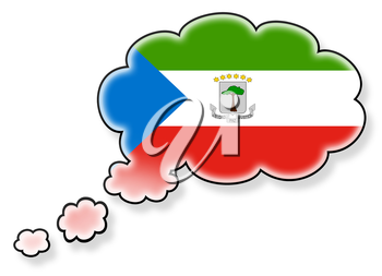Flag in the cloud, isolated on white background, flag of Equatorial Guinea