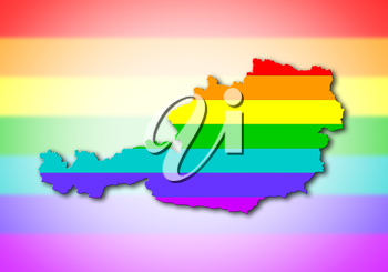 Austria - Map, filled with a rainbow flag pattern