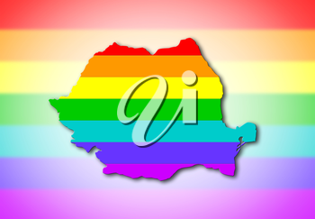 Romania - Map, filled with a rainbow flag pattern