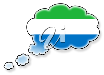 Flag in the cloud, isolated on white background, flag of Sierra Leone