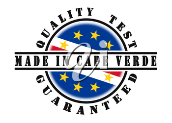 Quality test guaranteed stamp with a national flag inside, Cape Verde