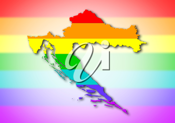 Map, filled with a rainbow flag pattern - Croatia