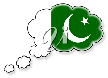 Flag in the cloud, isolated on white background, flag of Pakistan