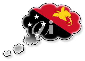 Flag in the cloud, isolated on white background, flag of Papua New Guinea