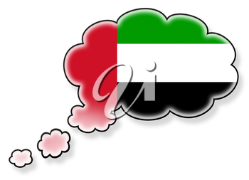 Flag in the cloud, isolated on white background, flag of the UAE