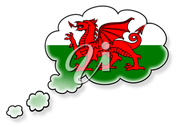 Flag in the cloud, isolated on white background, flag of Wales