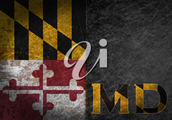 Old rusty metal sign with a flag and state abbreviation - Maryland