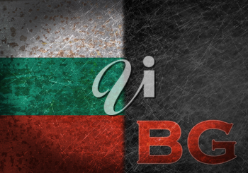 Old rusty metal sign with a flag and country abbreviation - Bulgaria