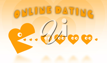Concept of dating - big Pacman heart hunting small hearts - orange