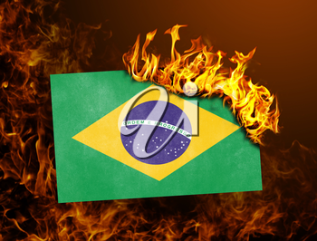 Flag burning - concept of war or crisis - Brazil