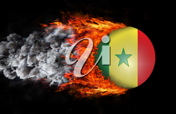Concept of speed - Flag with a trail of fire and smoke - Senegal