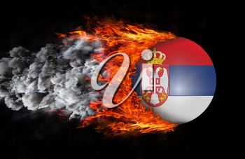 Concept of speed - Flag with a trail of fire and smoke - Serbia
