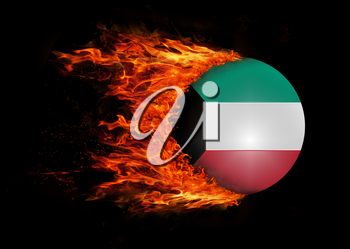 Concept of speed - Flag with a trail of fire - Kuwait
