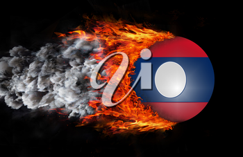 Concept of speed - Flag with a trail of fire and smoke - Laos