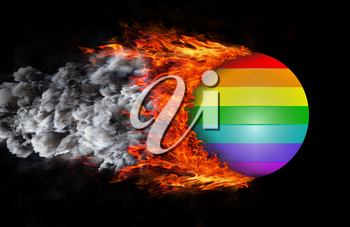 Concept of speed - Flag with a trail of fire and smoke - Rainbow flag