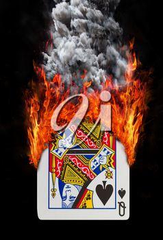 Playing card with fire and smoke, isolated on white - Queen of spades