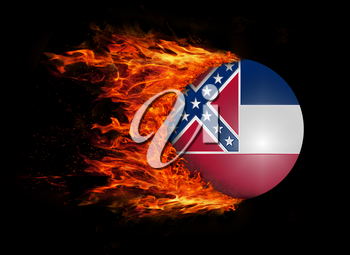 Concept of speed - US state flag with a trail of fire - Mississippi