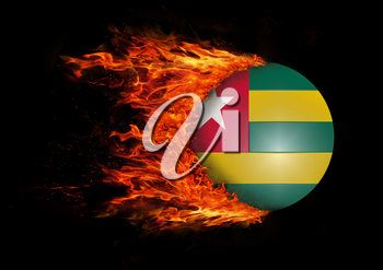 Concept of speed - Flag with a trail of fire - Togo