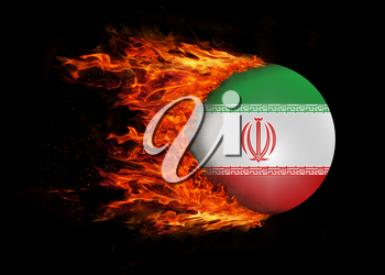 Concept of speed - Flag with a trail of fire - Iran