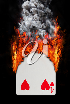 Playing card with fire and smoke, isolated on white - Four of hearts