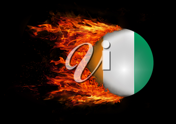 Concept of speed - Flag with a trail of fire - Ivory Coast