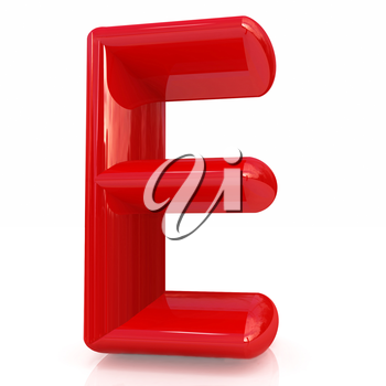 Alphabet on white background. Letter E on a white background