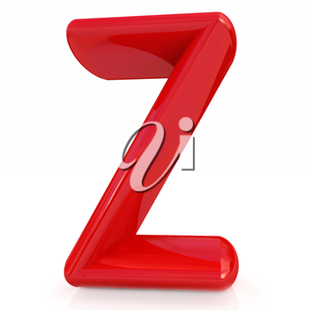 Alphabet on white background. Letter Z on a white background