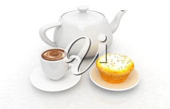 Appetizing pie and cup of coffee on a white background