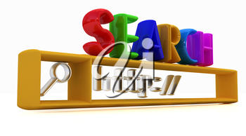 3d internet search string.Business and technology on a white background