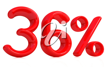 3d red 36 - thirty six percent on a white background