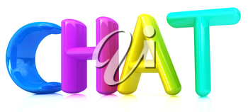 colorful 3d text chat on a white background