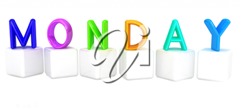 Colorful 3d letters Monday on white cubes on a white background