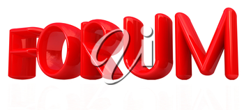 forum 3d red text on a white background