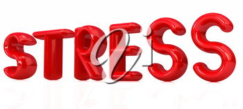 stress 3d text on a white background