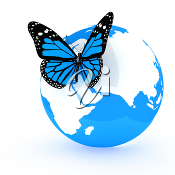 Earth and butterfly on white background