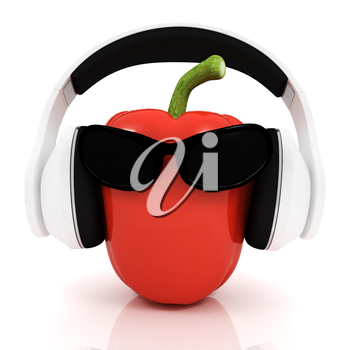 Bell peppers with sun glass and headphones front face on a white background