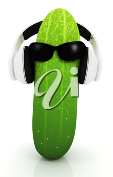 cucumber with sun glass and headphones front face on a white background