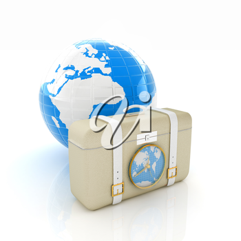 Suitcase for travel end Earth
