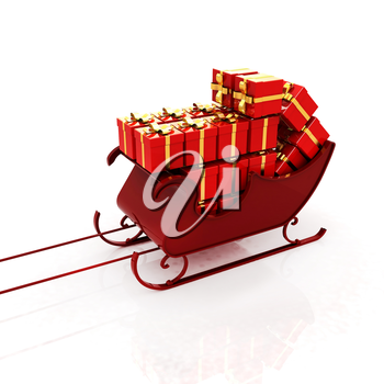Christmas Santa sledge with gifts on a white background
