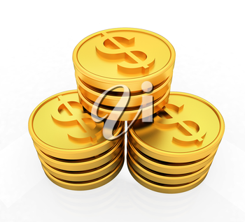 Gold dollar coins on a white background