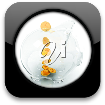 Glossy icon with glass piggy bank