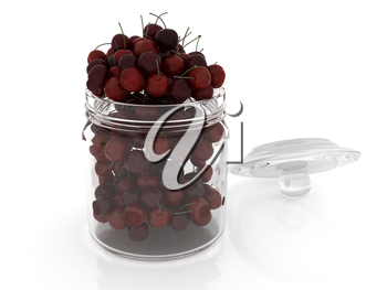 Bank of fresh cherries on a white background