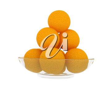 Oranges on a glass plate on a white background