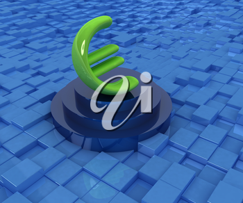 Euro sign on podium. 3D icon on abstract urban background