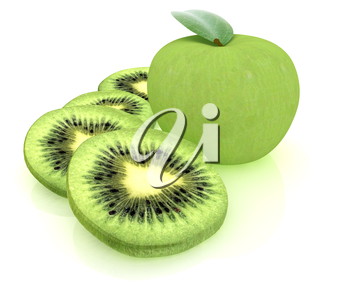 slices of kiwi and apple on a white