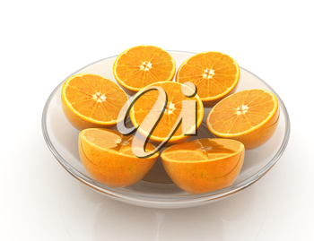 half oranges on a plate on a white background